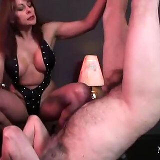 Femdom teases slaves cock then handjob and cum drinking
