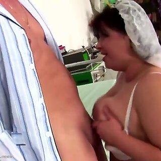 Big mature nurse ass fucked and creampied