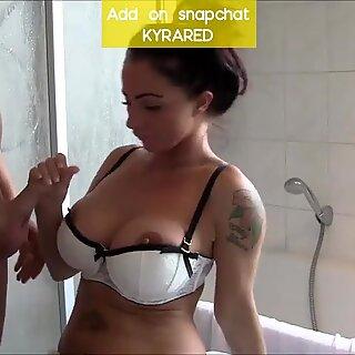 curvy milf Huge tits mom sucks and fucks in the bathroom