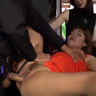 Asian slave disgraced in lingerie shop