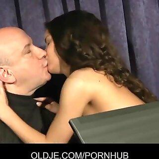 Anita seduce and shag her Oldje music professor