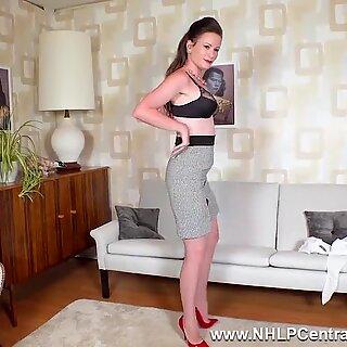 black-haired mummy strips off retro lingerie masturbates in naked nylons garters