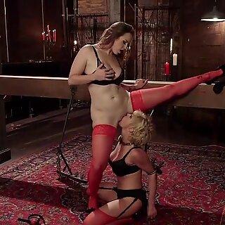Milf slave gets anal fucked lezdom