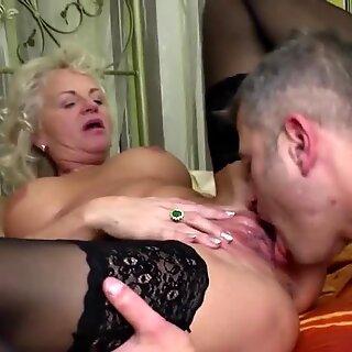 Granny old but still hot fucks young boy