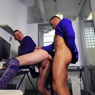 Hunky office studs spread thier legs in the office