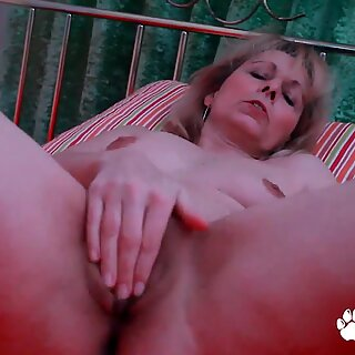 Horny Granny Kolo Blond Fills Her Saggy Old Pussy With A Big Dildo