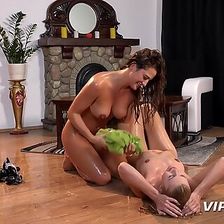 Pissing Lesbians - Delphine and Nicole get drenched during piss play