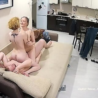 Gay with Sexy Big Tits StepSister Takes Treesome Sex Action