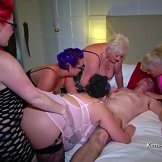 Group of older women and a lucky guy