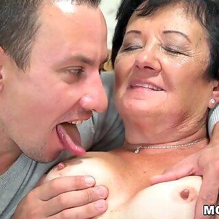 Lewd granny fucks a young guy