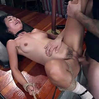 Hairy Asian slave fucked and cummed