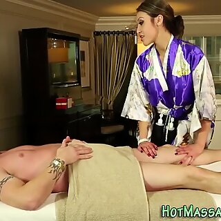 Massaging asian spunk