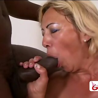 Granny with big tits likes interracial hardcore sex