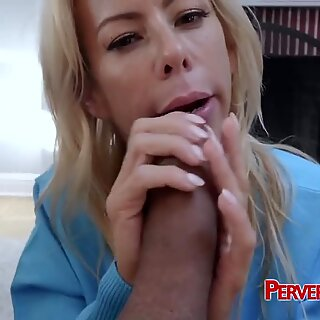 Slutty blondie stepmom gets her pussy slammed hard on the sofa by her big and hard stepson pecker