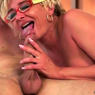 Lusty grandma fucking her young love