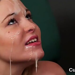 Sexy idol gets cumshot on her face eating all the jizm