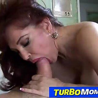 Hot redhead cougar Sexy Vanessa sucking fat dick