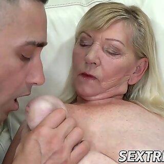 Glam granny enjoys doggystyle before tasting cum