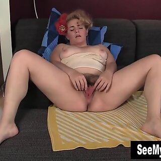 Busty MILF Poppy Masturbates Her Hairy Twat