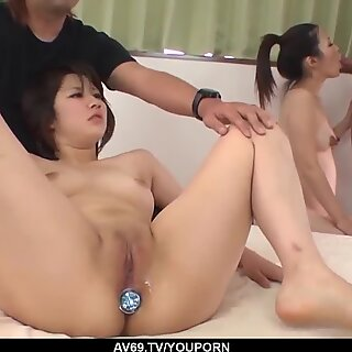 Japanese milf double fucked in a glorious home trio - More at 69avs.com