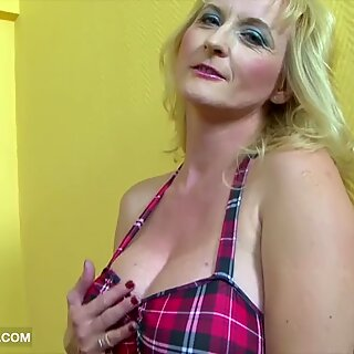 Granny gets ass fucked with fuck stick and big ebony cock and jism on big tits