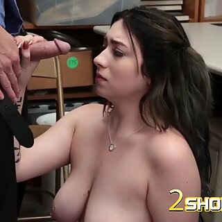 Busty babe drilled with fat dong