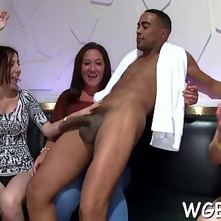 Horny stripper gets his long and giant male dong pleasured