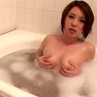 Seductive Yurika Momo shows her charms in the bathroom.