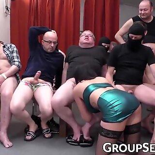 Hot German MILF gangbanged and blasted with cum